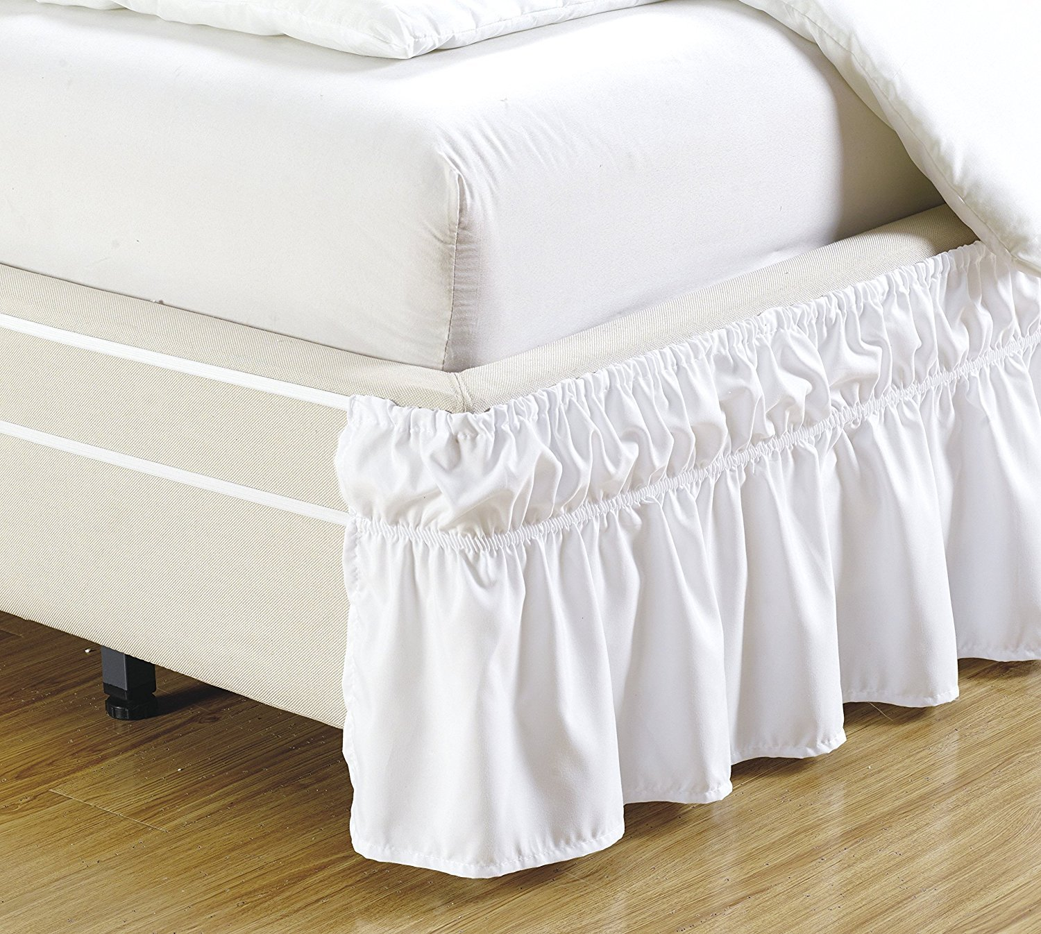Fancy Collection Twin Easy Fit Bed Ruffle Wrap Around Elastic Bed Skirt With 17'' Drop Easy Install Solid White New