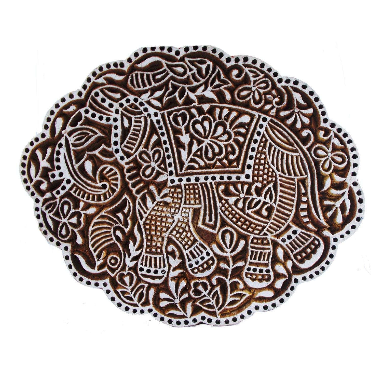 Elephant Motif Printing Block Indian Handmade Craft Wooden Stamps Clay Pottery Scrapbook Textile Henna Print Blocks