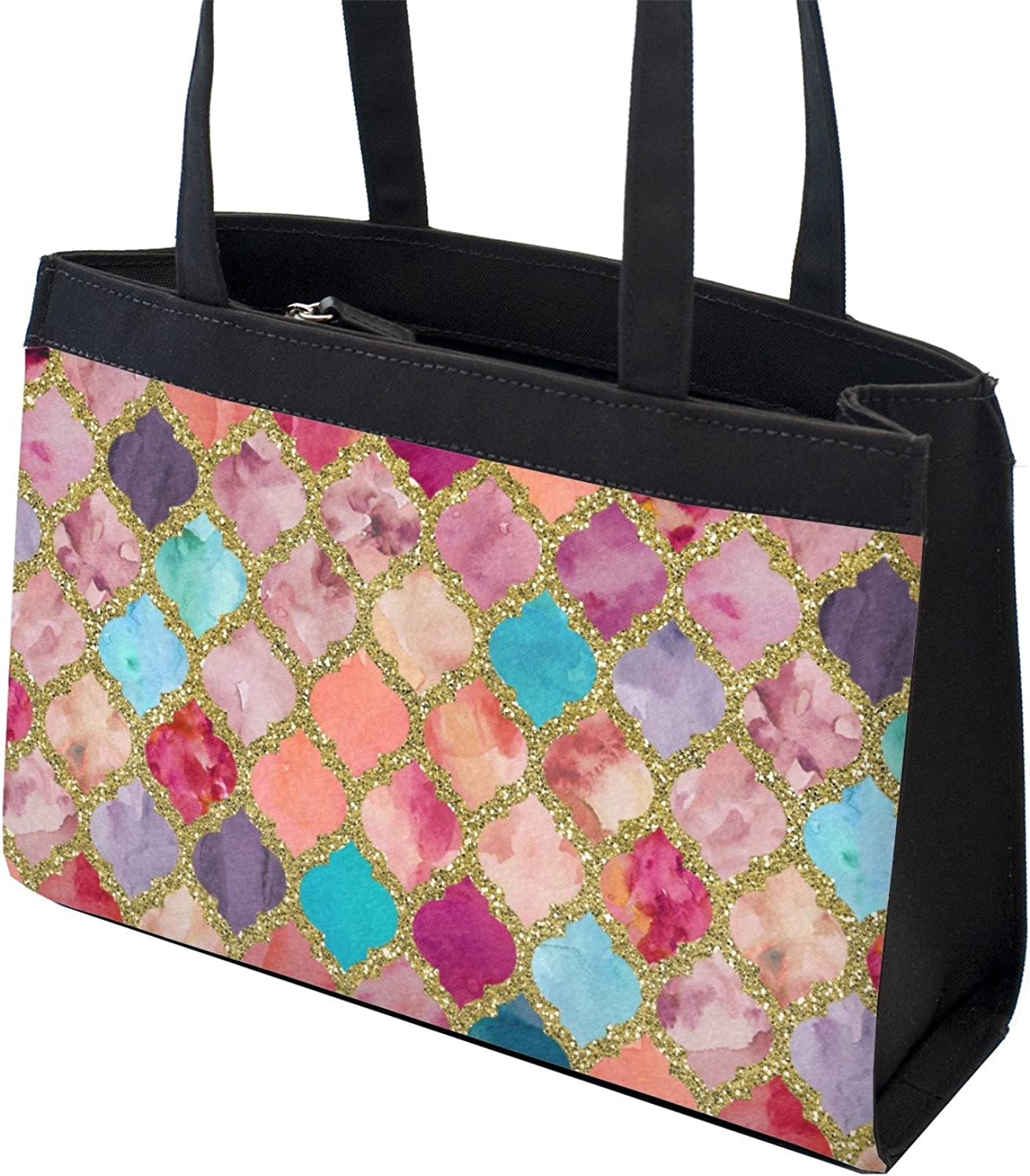 Front Personalized Glitter Moroccan Watercolor Zippered Everyday Tote