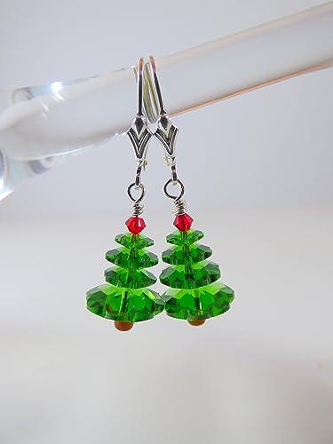 Amazon.com: Christmas Tree Earrings Made From Swarovski Crystals on ...