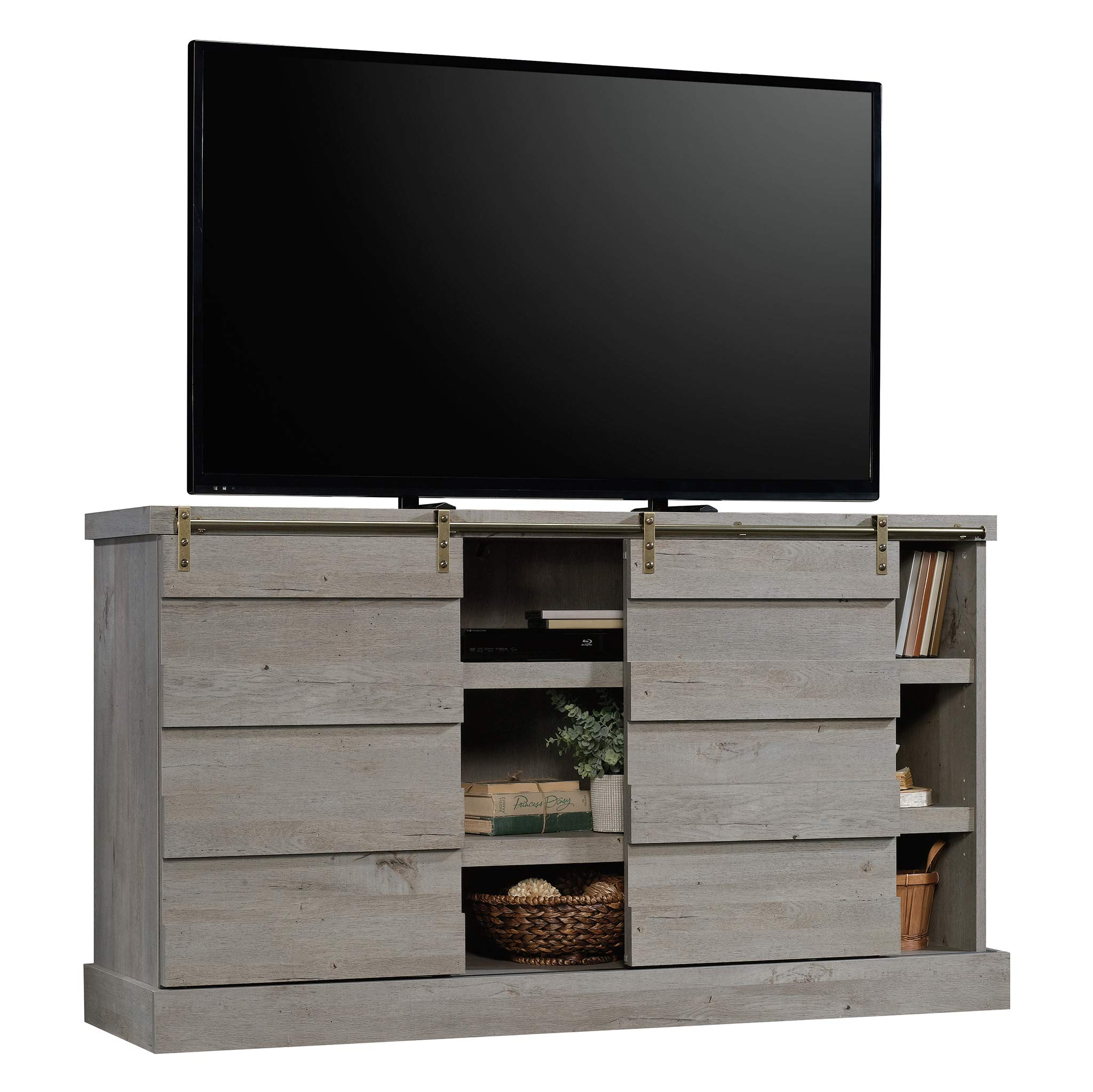 Sauder 422875 Cannery Bridge Credenza, Accommodates up to a 60'' TV Weighing 70 lbs. or Less, Mystic Oak Finish by Sauder (Image #2)