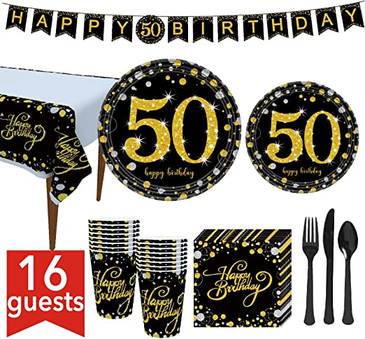 DmHirmg 50th Gold Birthday Party Decorations Kit,50 Years Old Party Decorations for Men//Women,Happy 50th Birthday Banner for Mum//Dads,Big Birthday Party Supplies Kit Enough to Meet 16 Guests by ACXOP