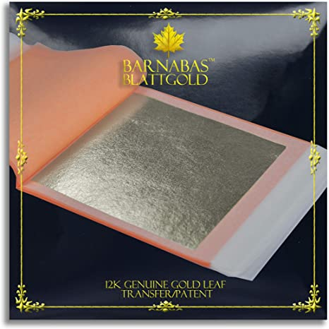"""PURE SILVER LEAF PATENT TRANSFER booklet 25 leaves sheets 3-3//8/""""x3-3//8/"""" Gilding"""