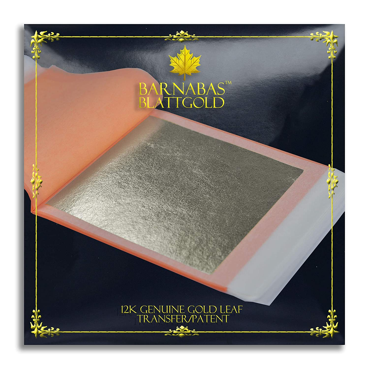 Genuine Gold Leaf Sheets 12k - by Barnabas Blattgold - 3.4 inches - 25 Sheets Booklet - Loose Leaf G85-12-25