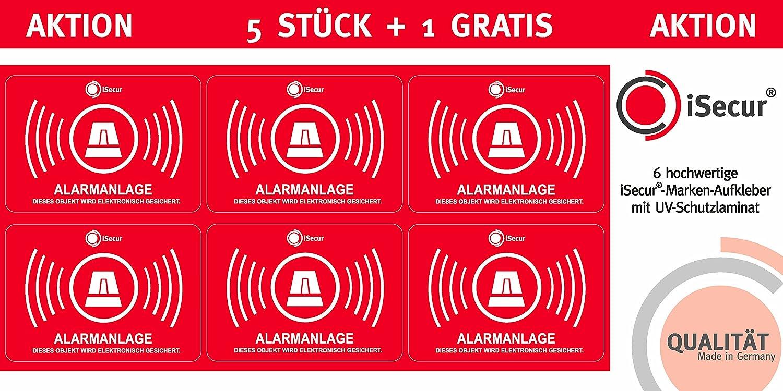 5 Stück Aufkleber Alarm, iSecur®, alarmgesichert, 60x40mm, Art. hin_048_5er_6x4_außen Hinweis auf Alarmanlage, außenklebend für Fensterscheiben, Haus, Auto, LKW, Baumaschinen