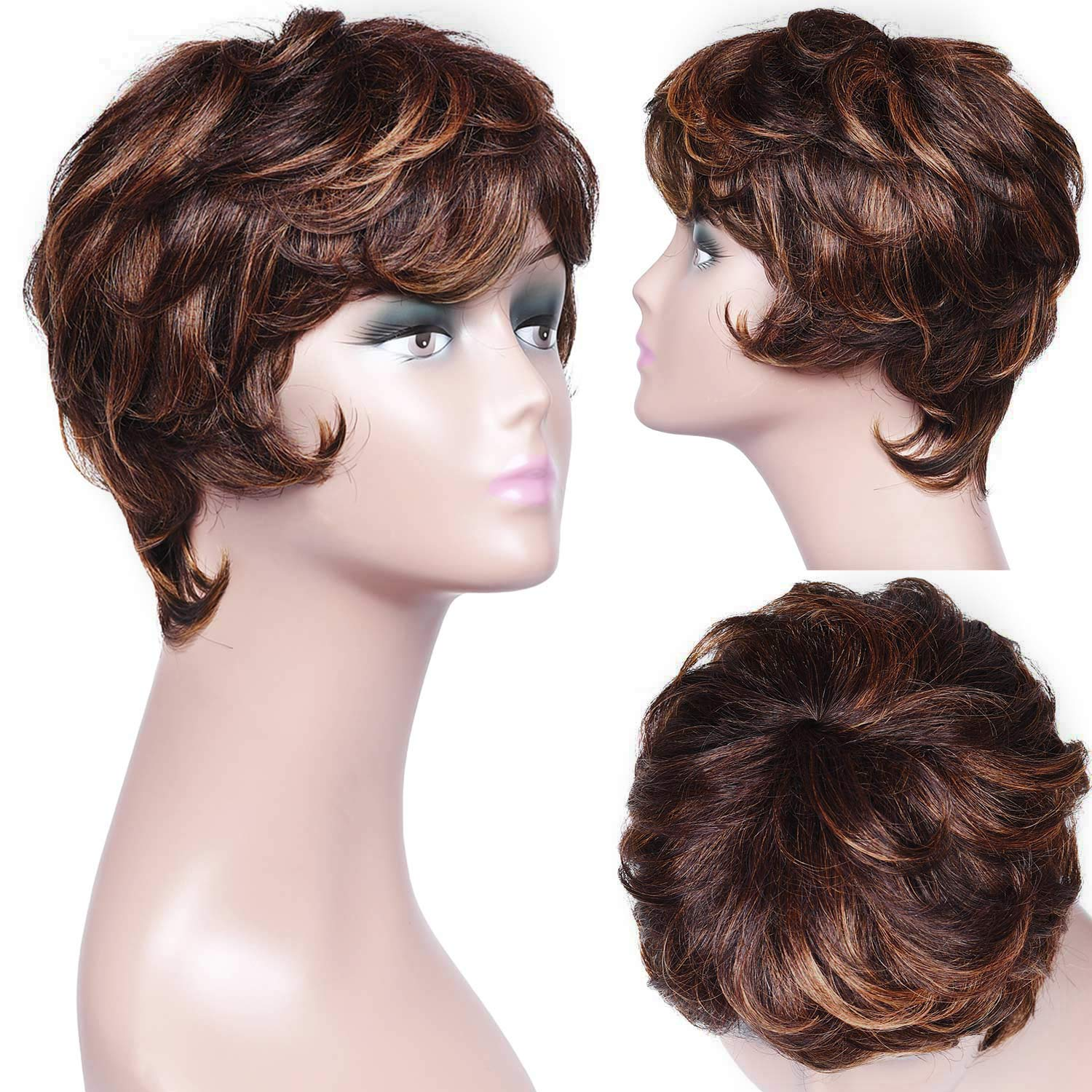 Armmu 8 Inches Human Hair Short Curly Pixie