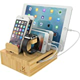 Kurrent Bamboo Desktop Charging Organizer: Multi device Dock w/ Apple Watch Stand for iPhone, iPad, Smartphone, Tablets and Apple Watch (For Use with Separate Charger)