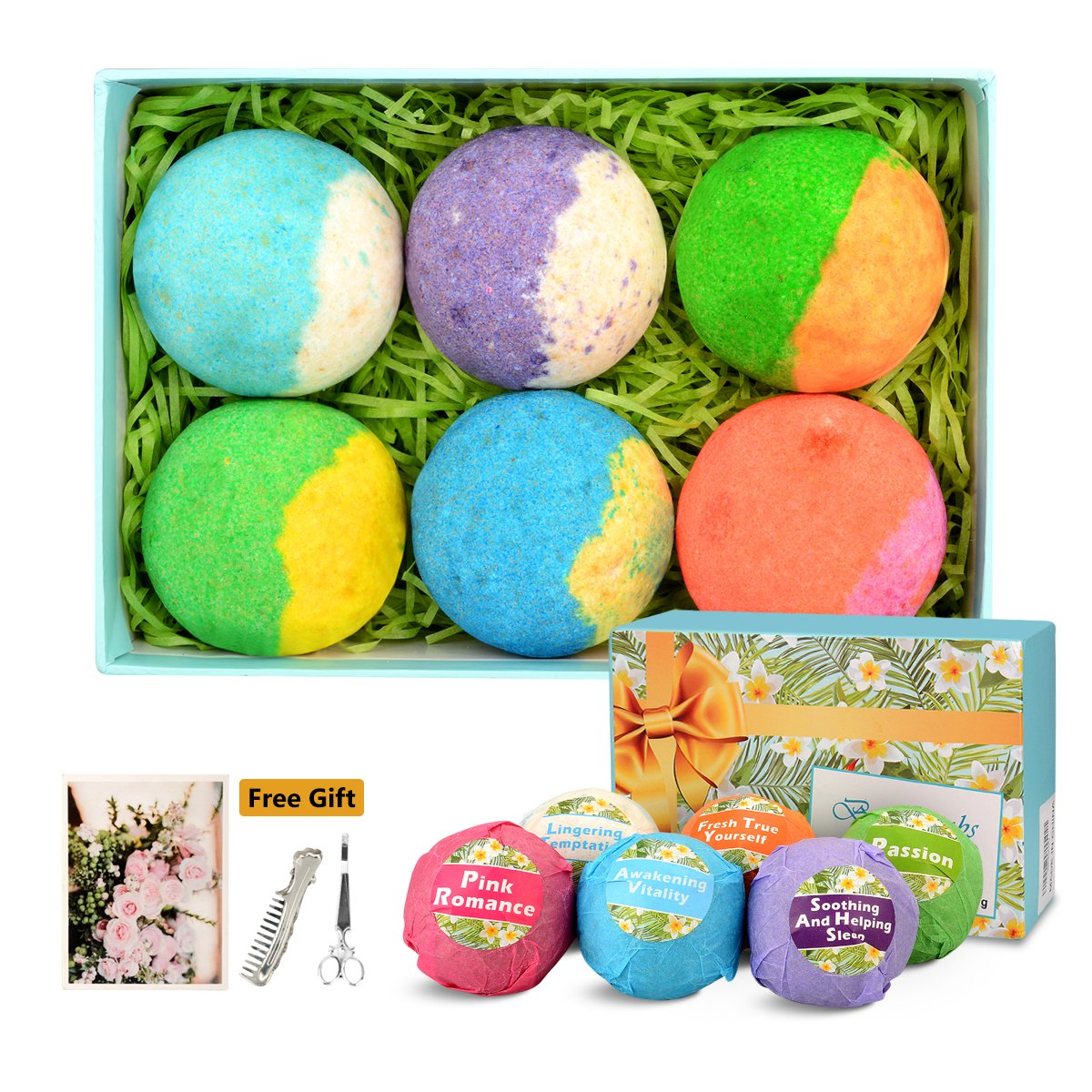 Large Organic Bath Bomb Set for Women Men Teenager Babies Him and Her, Ultra Fizzes and Bubbles , Stress Reliever Lush Spa(6X3.8ounce) organic bath bombs
