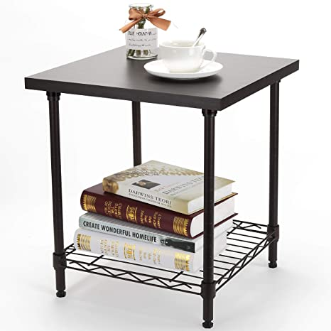 2 Tier End Table, YOHKOH Nightstand Small Coffee Table With Adjustable  Storage Metal Shelf