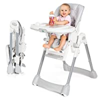 Fillikid Baby Trona - Silla alta de bebé, asiento reclinable, cojin acolchado, cinturón, mesa con bandeja extraíble - altura ajustable y plegable | Gris Blanco