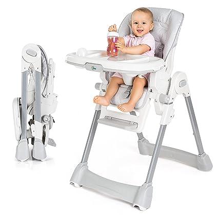 Fillikid Baby Hochstuhl - Babystuhl mit Liegefunktion, Sitzpolster, Gurt, Tisch mit abnehmbarem Tablett - höhenverstellbar un