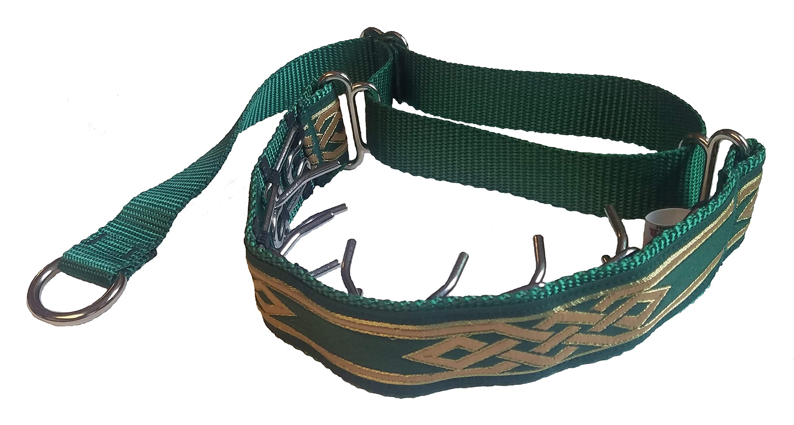 Lola's Limited Secret Powers Training Collar (3.2 mm, 6 prongs; Thick Fur, 12''-15'' Neck) (3.2mm, 6prong, Small, Green Elegance)
