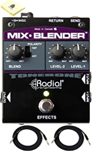 Radial Mix-Blender Dual Instrument Buffer | Guitar Mixer and FX Loop Interface | Multi-function Pedal Intended for Guitars Basses & Keyboards With 2 x Senor Instrument Cable 18.6ft and Zorro Cloth
