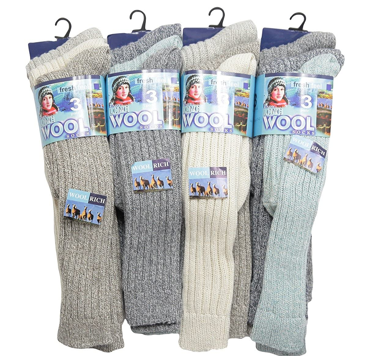 (FF11) LADIES 6prs CHUNKY THERMAL WARMTH WINTER LONG WOOL BOOT WALKING HIKE SOCKS Assorted)