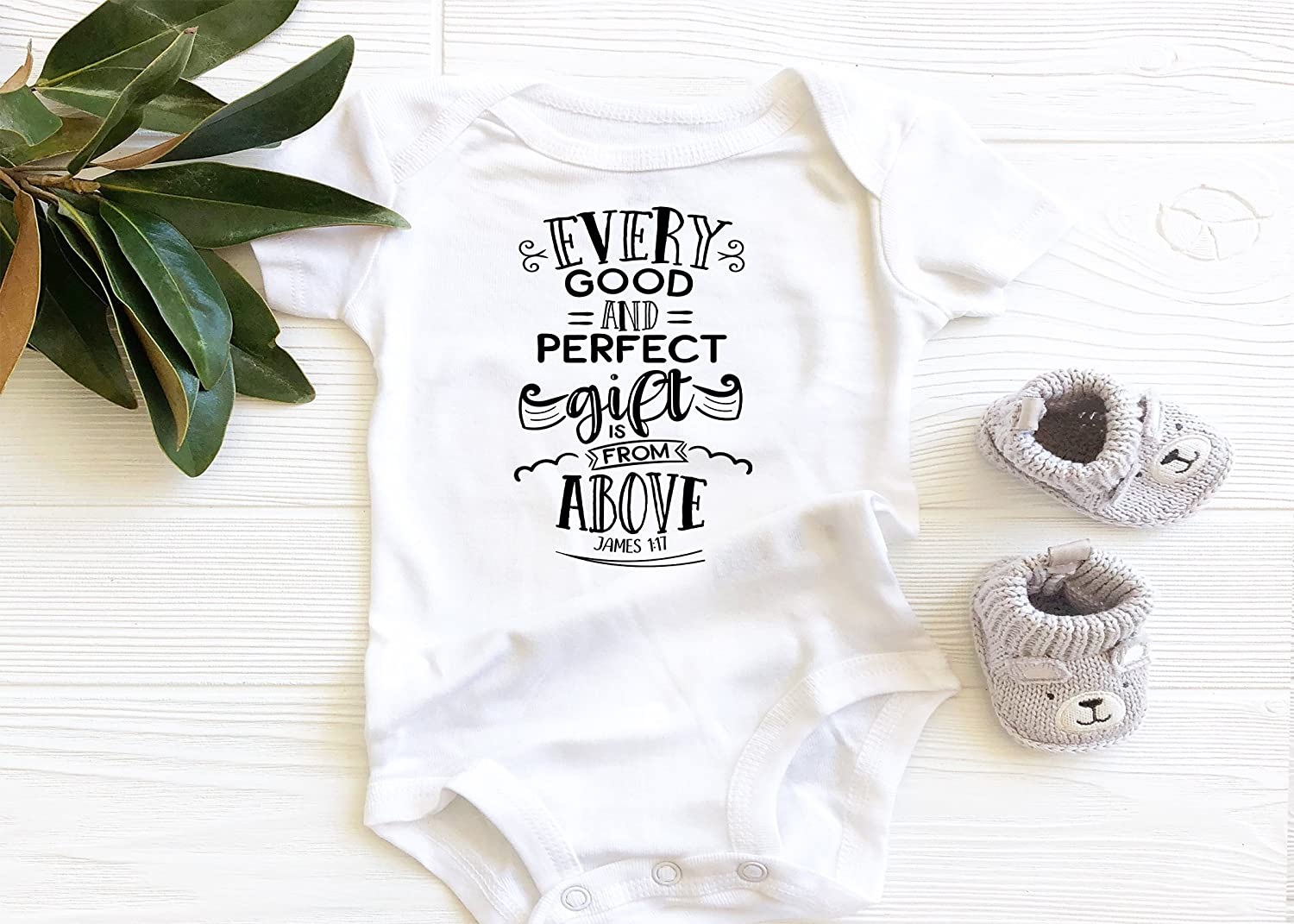 Ever Good and Perfect Gift Black Baby Bodysuit, Christian Faith Scripture Onesie, boho baby