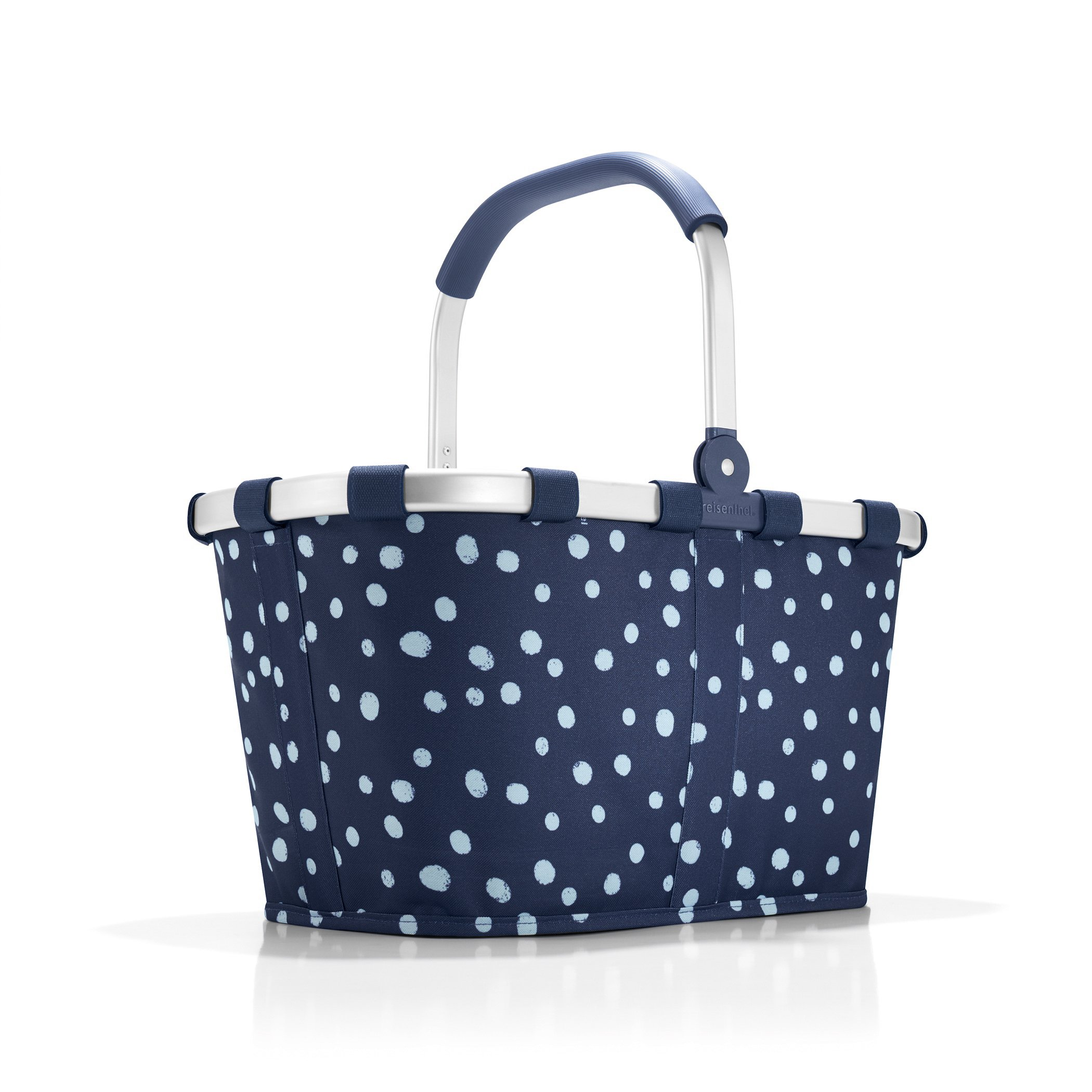 reisenthel Carrybag Fabric Picnic Tote, Sturdy Lightweight Basket for Shopping and Storage, Spots Navy