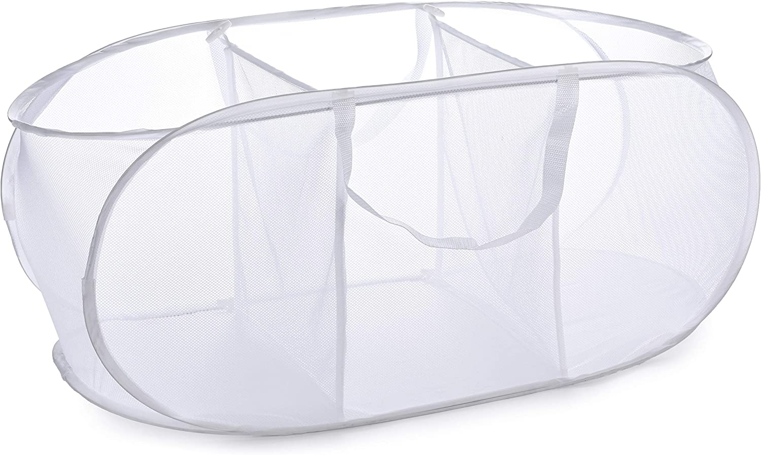 Popup Laundry Basket, Three Compartments - Durable Mesh Material, Folds for Storage, Easy Carry Handles. Folding Pop-Up Laundry Basket Bins are Great for College Dorm Laundry Room or Travel. (White)