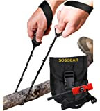 SOS Gear Pocket Chainsaw and Fire Starter - Survival Kit with Hand Saw in Embroidered Pouch, Firestarter with Built in Compass & Whistle for Camping & Backpacking - Black Straps 24 or 36 inch Chain