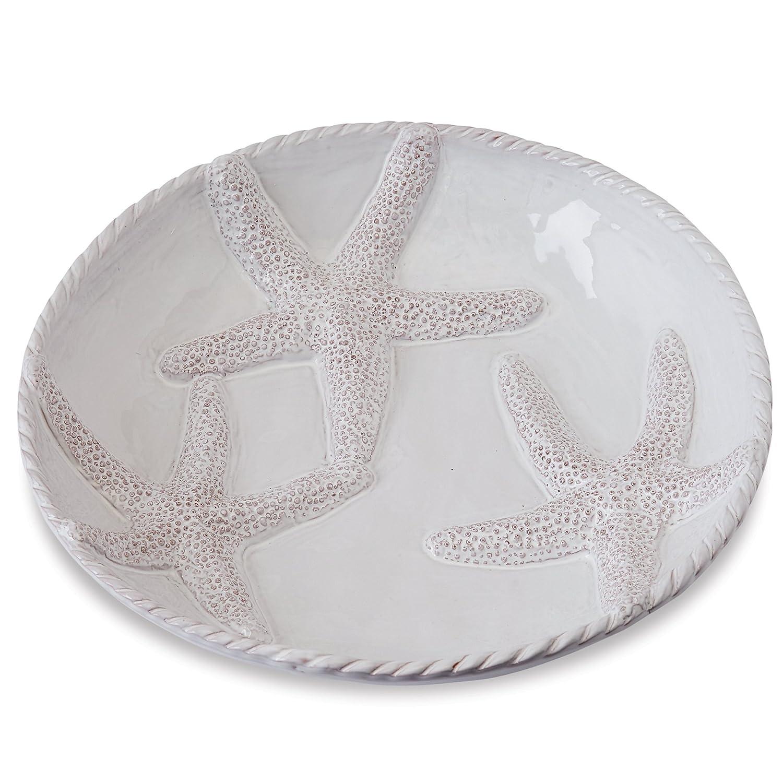 Mud Pie Starfish Wide Pasta Serving Bowl, White 4601064
