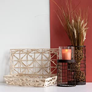 Foreside Home and Garden Natural Paper, Set of 2 Basket Set, White