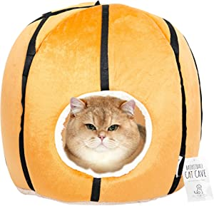 All Fur You Basketball Cat Cave Cat House for Indoor Cats, Cubby Cat Hideaway Dome Bed Cat Tent Pod Igloo Pet Cave Cat Home Pet Cubes Felt Warm Cozy Caves Cat Hut Covered Beds Puppy Houses