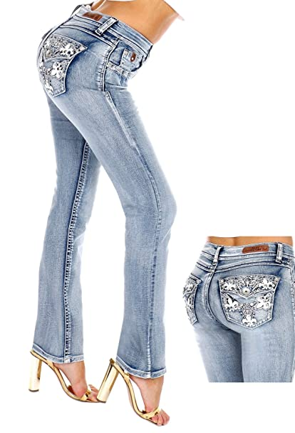 Sexy Couture Womens S96-PB Mid Rise Flare Bottoms Boot Cut Jeans