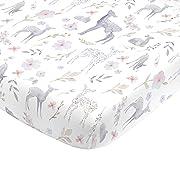 NoJo Super Soft Floral Deer Nursery Crib Fitted Sheet, Grey, Light Blue, Pink, White