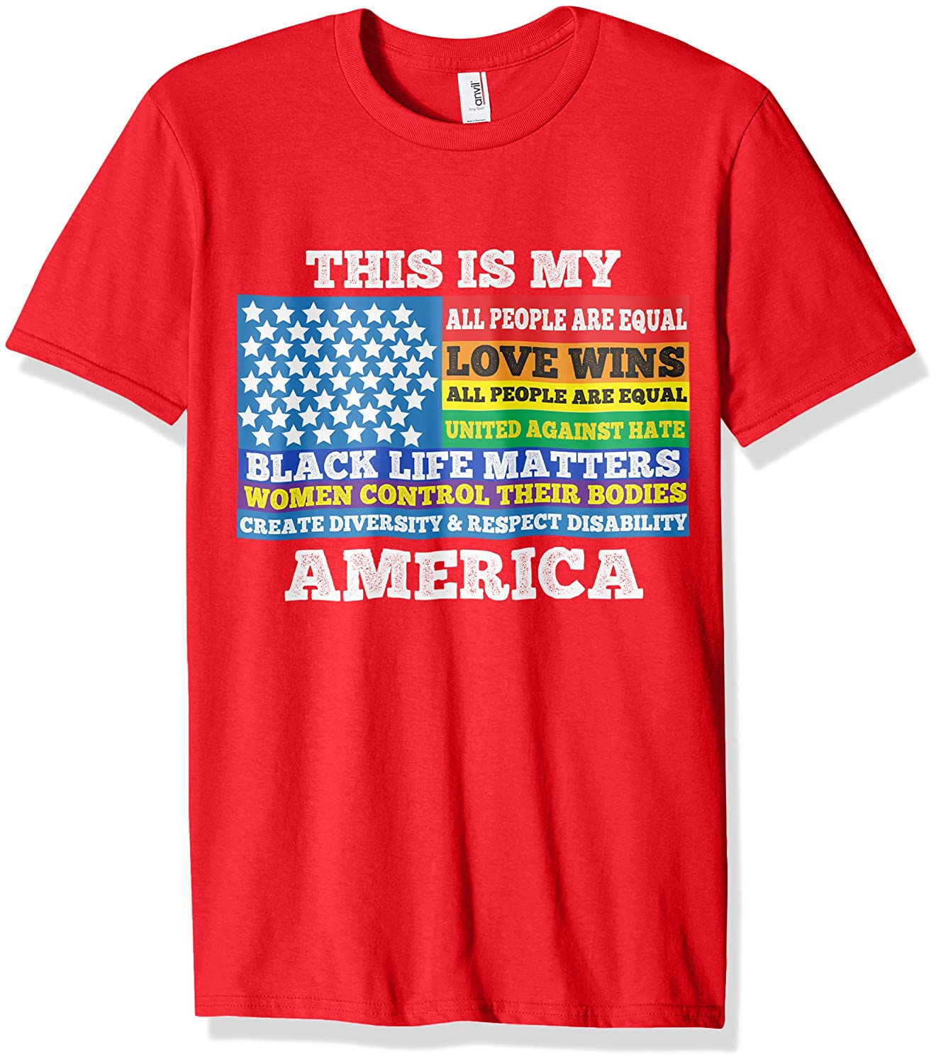 Anti Trump Shirt For Women This Is My America US Flag LGBT-CD