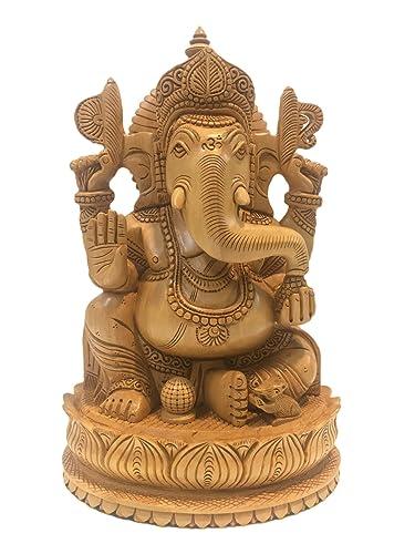 Amazon Com Majestic Ganesh Statue In Wood 8 Inches Ganesha Idol