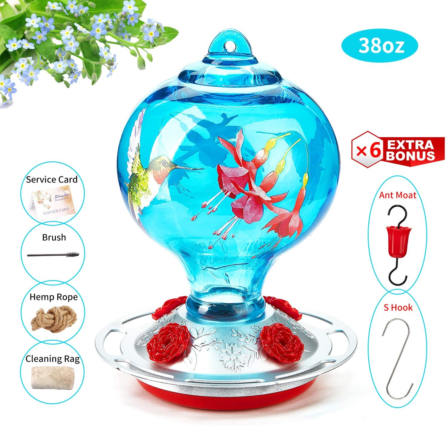 ShinyArt Hummingbird Feeder for Outdoors, 38 Ounces, Blue Birds and Floral, Including Ant Moat, S Hook, Hemp Rope, Brush, Cleaning Rag and Service Card