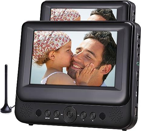 Odys Megaro Tragbarer DVD-Player/Televisor mit zusätzlichem 23 cm (9 pulgadas) Bildschirm (USB, SD-Card, DVB-T) negro: Amazon.es: Electrónica