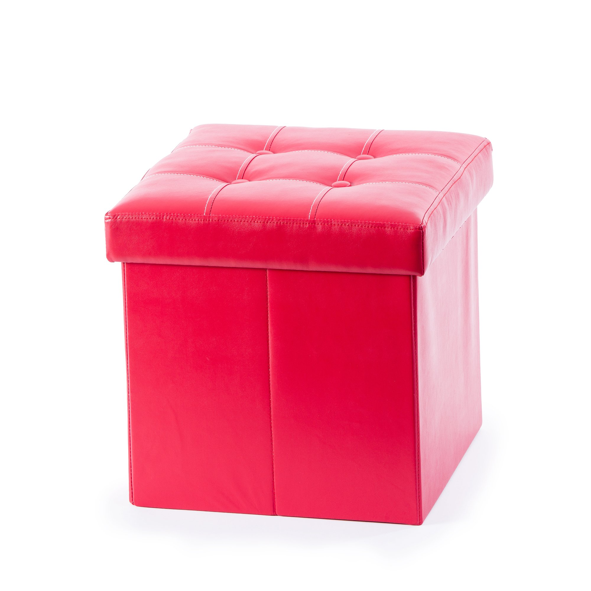 Guidecraft Storage Ottoman Red - Chest with Removable Top Cushion, Kids Seat and Foot Rest Stool Toy Box, Children's Furniture
