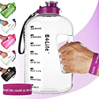 B4Life 1 Gallon Water Bottle with Time Marker, Motivational Wristband, Fitness Workout...
