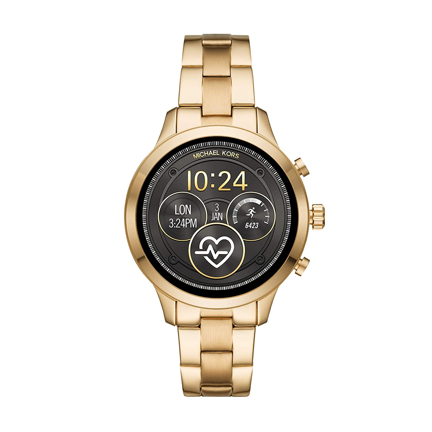 2a70b28fc726 Amazon.com  Michael Kors Women s Access Runway Stainless Steel Plated Touchscreen  Watch with Strap