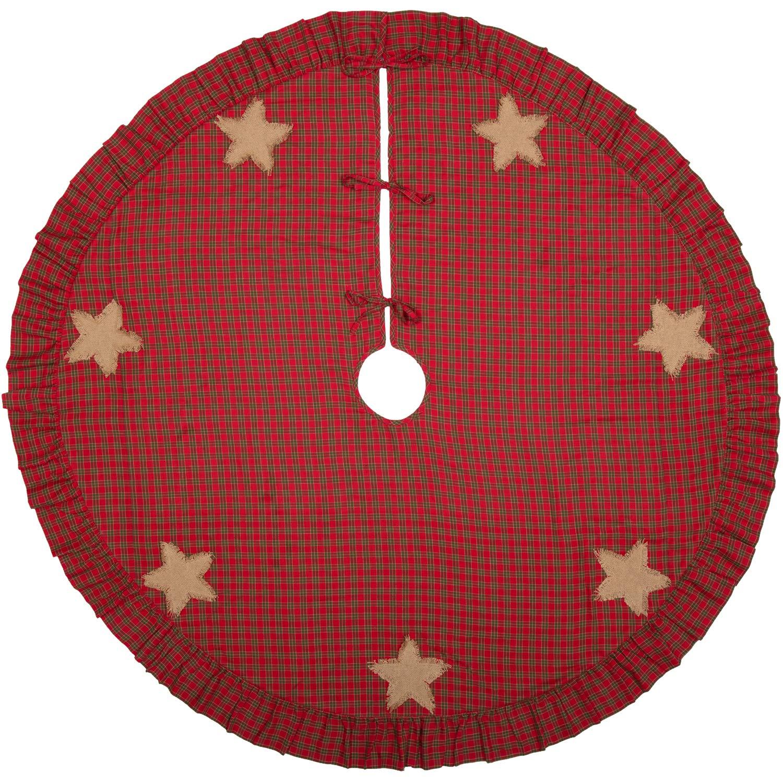 Red 49828 VHC Brands Forreston Burlap Star 60 Tree Skirt Diameter