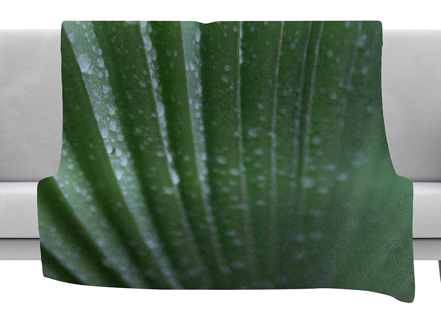 Kess InHouse Cyndi Steen Palm Frond Green Nature Throw 80 x 60 Fleece Blanket