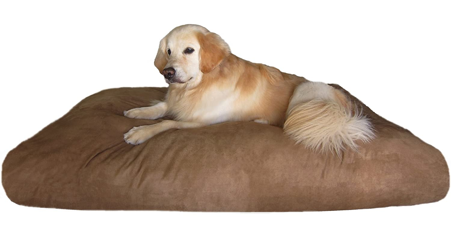 amazoncom dogbed4less xxl extra large memory foam dog bed pillow with waterproof liner and brown microsuede cover for large pet 55x37 inches xl dog bed - Dog Beds For Large Dogs