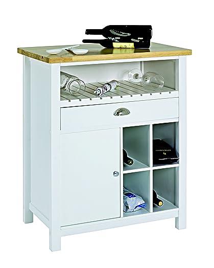 Haku Furniture carrito de cocina, madera, color blanco/naturaleza ...