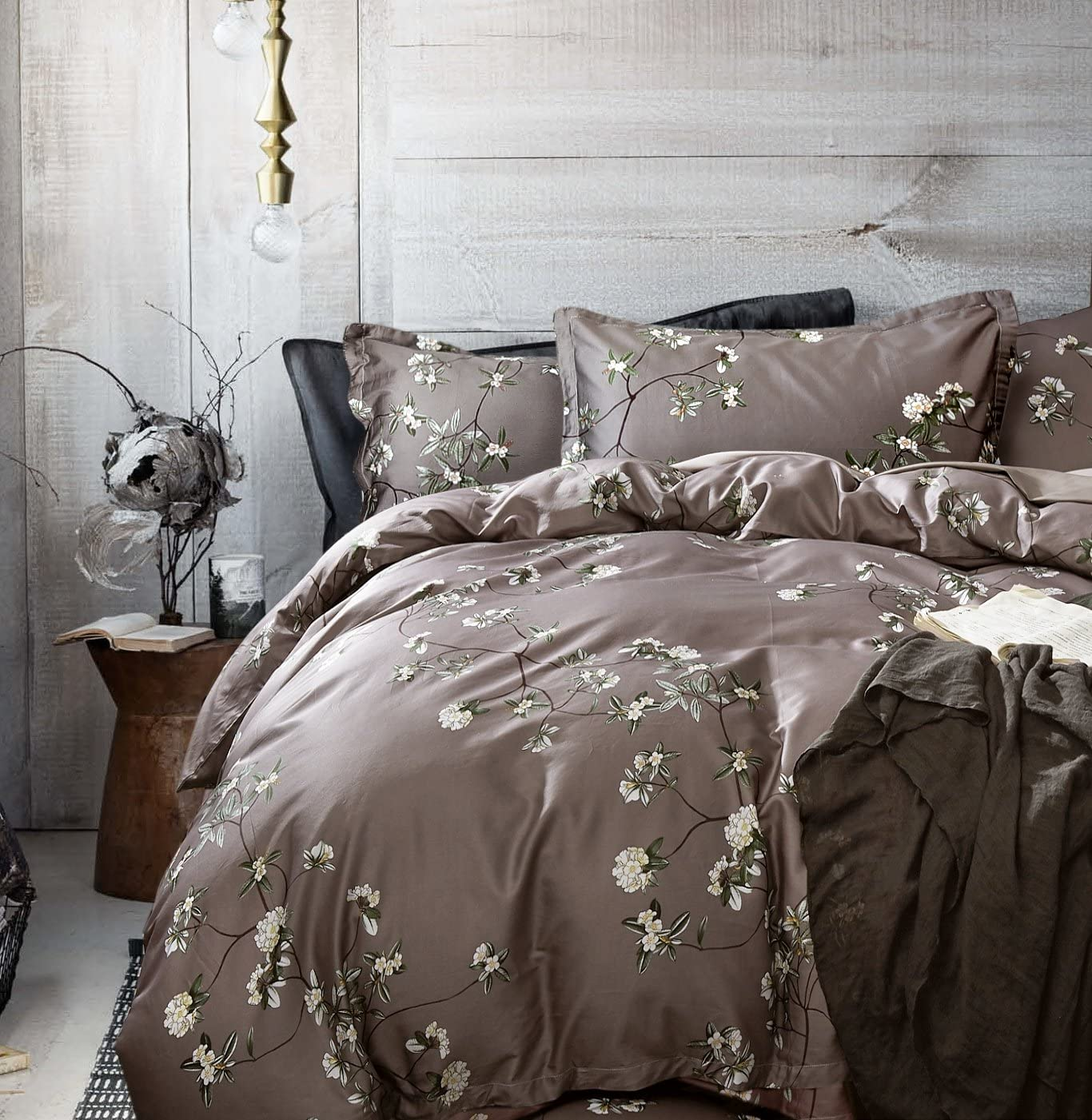 Eikei Home French Country Garden Toile Floral Printed Duvet Quilt Cover Cotton Bedding Set Asian Style Tapestry Pattern Chinoiserie Peony Blossom Tree Branches Multicolored Design (Queen, Grey Fog)