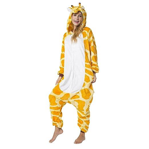 Katara 1744 - Kigurumi Pijamas Disfraz de Animal - Traje de Noche con Capucha - Adultos Unisexo - Jirafa, M: Amazon.es: Juguetes y juegos