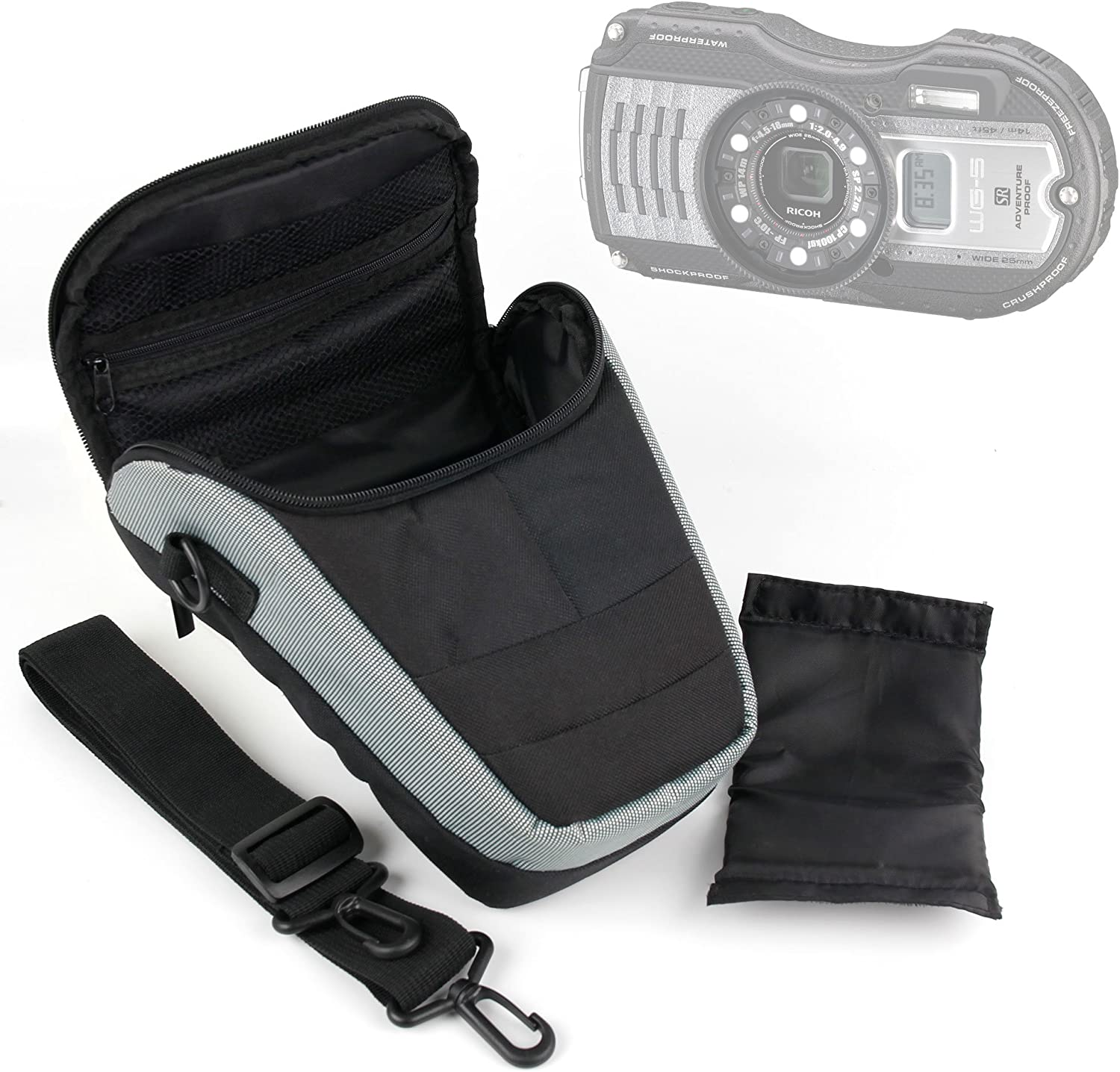 Multiple Pockets and Shoulder Strap Suitable for Ricoh WG-5 GPS with Padded Interior DURAGADGET Portable Camera Case