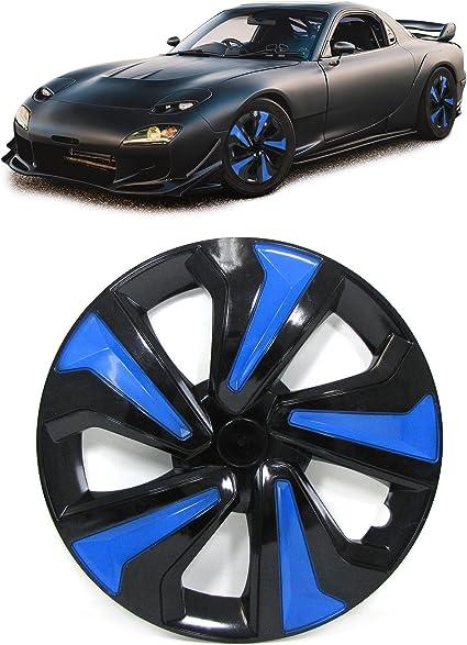 Tapacubos Tapacubos para llantas de acero Set Tenzo de R VII 14/pulgadas Negro Azul
