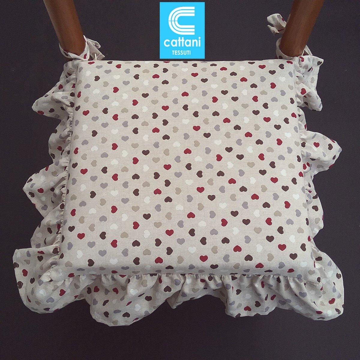 cuscini sedie cucina set 4 pezzi imbottitura multistrato con volant con zip