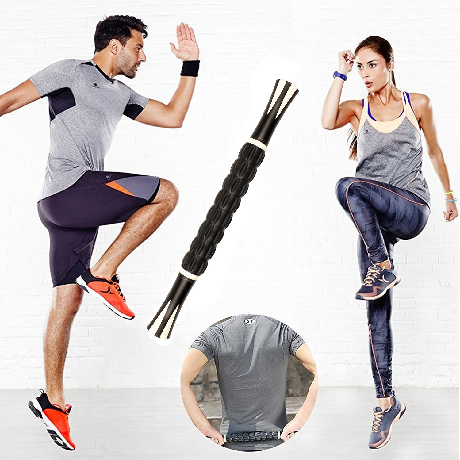 Yoport Muscle Roller Stick, Muscle Massage Roller Tool with Anti Slip Handle for Athlete Runner Releasing Myofascial Trigger Points, Reducing Muscle Soreness, Soothing Cramps and Relieving Muscle Pain by Yoport (Image #5)