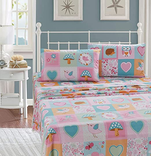 Butterfly Patchwork Design Pink Turquoise Girls Duvet Cover Bedding Set
