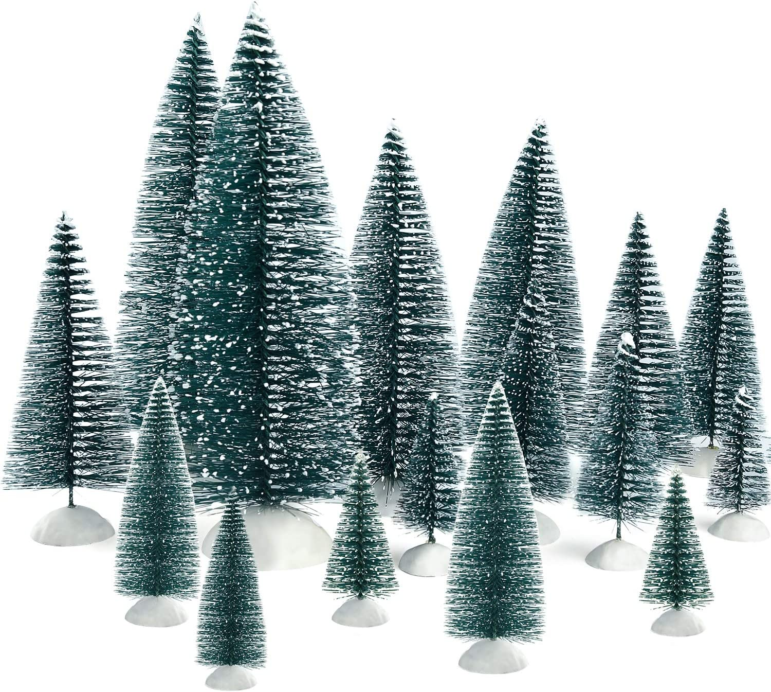 KUUQA 46Pcs Mini Christmas Trees Bottle Brush Trees Miniature Sisal Snow Frost Trees Tabletop Trees with White Base Diorama Models for Christmas Party Home Decoration Home Table Top Decoration