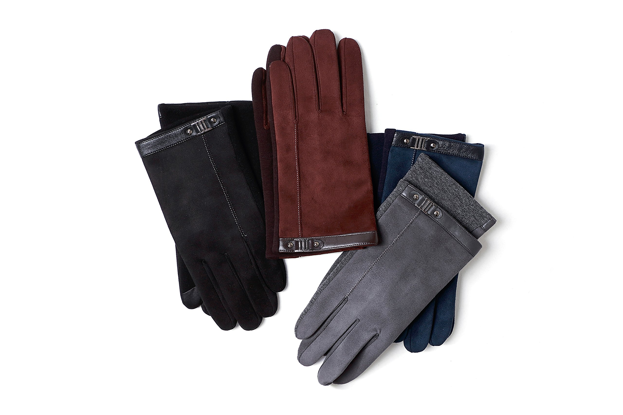 YISEVEN Men's Suede Chamois Leather Gloves Touchscreen Flat Design Plain Lined Luxury Soft Hand Warm Fur Heated Lining for Winter Spring Stylish Dress Work Xmas Gift and Motorcycle Driving, Blue M by YISEVEN (Image #6)