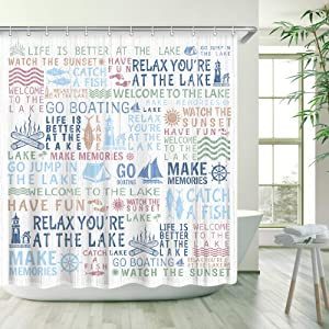 Stacy Fay Lake Words Shower Curtain Mottled Lake Rules Bathroom Shower Curtain Durable Fabric Bath Curtain with Hooks 72×72 (White)