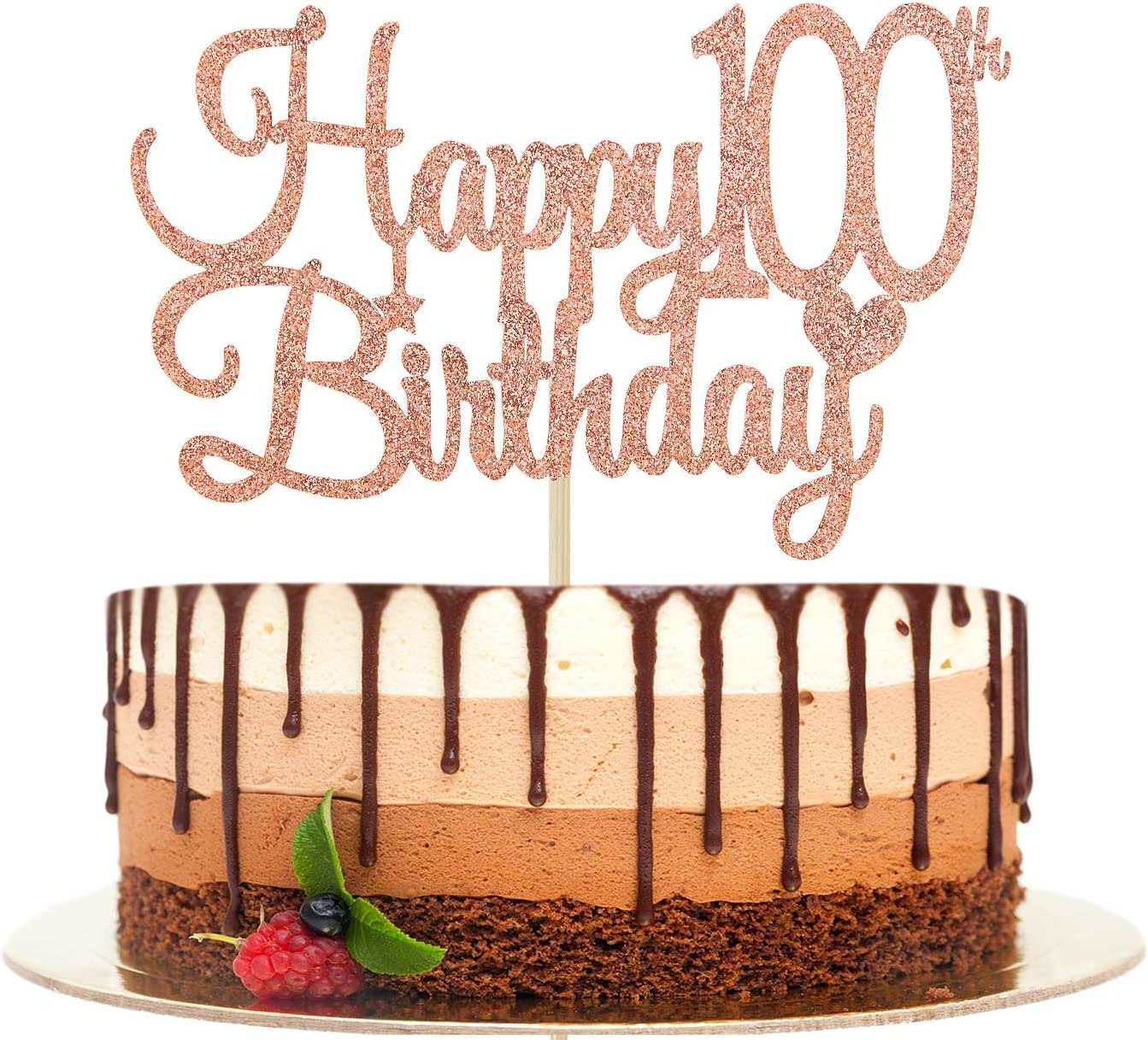 Happy 100th Birthday Cake Topper, 100 & Fabulous, Cheers to 100 Years, Hello 100,100th Birthday/Anniversary Party Decorations Rose Gold Glitter.
