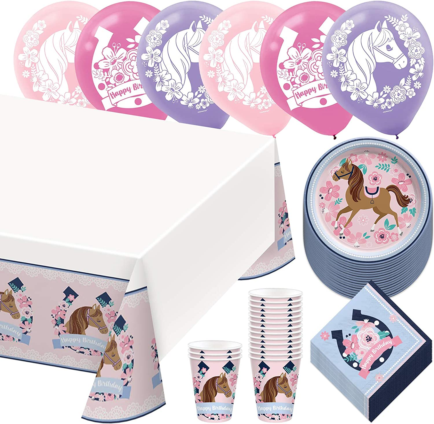 Saddle Up Horse & Floral Dessert Party Pack - Paper Plates, Beverage Napkins, Cups, Table Cover, and Balloons Set (Serves 16)